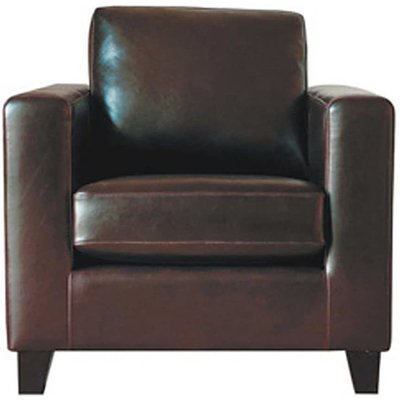 Split Leather Armchair in Chocolate