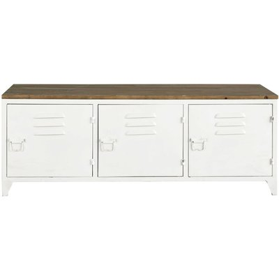 White Metal and Fir Wood Industrial TV Unit
