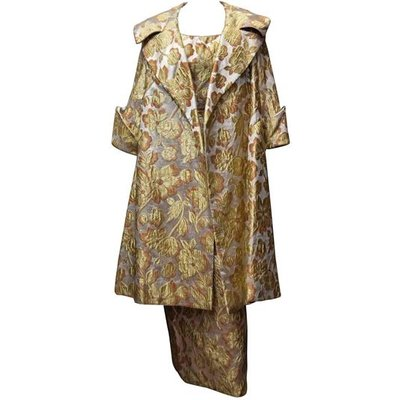 Mr Blackwell 1960s Gold Brocade Evening Dress and Coat, Black