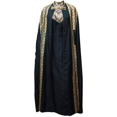 1960s Black and Gold Lamé Evening Dress and Cloak, Black
