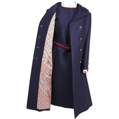 1960s I. Magnin Navy Blue & Red Dress & Coat Set, Blue
