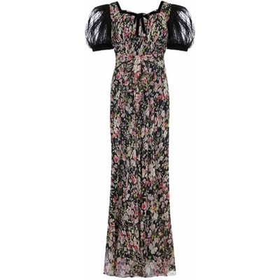 1930s Floral Chiffon Dress with Black Lace Puff Sleeves & Slip Size 8, Black