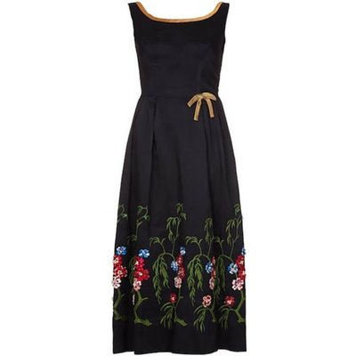 Vintage 1960s Embelished Dress with Colourful Embroidered Flowers and Beading UK Size 8, Red