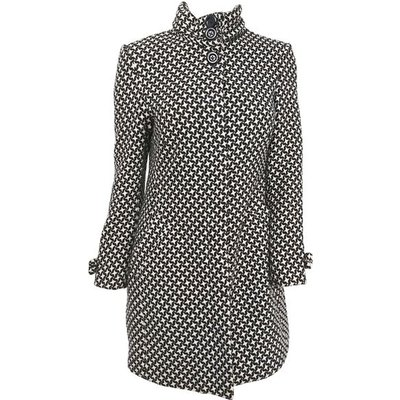 Black and White Houndstooth Mod Coat, 1960s, Black