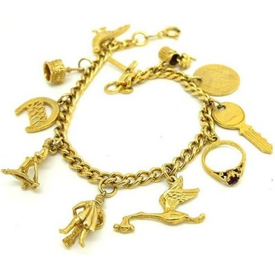 Vintage 1960s Yellow Gold Plated Charm Bracelet, Gold