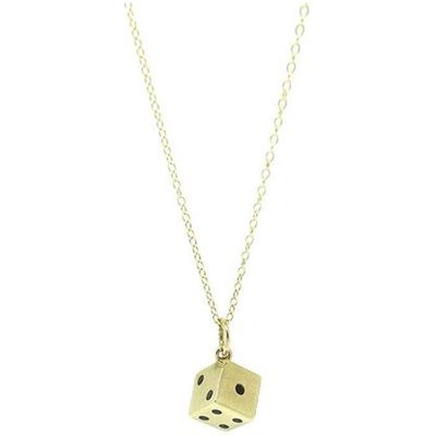 Vintage 1960s 9ct Gold Dice Charm Necklace, Gold