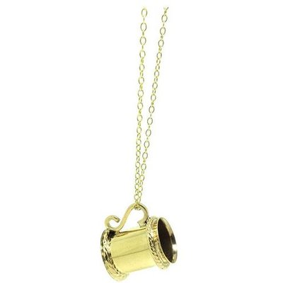 Vintage 1960s 9ct Yellow Gold Tankard Charm Necklace, Gold