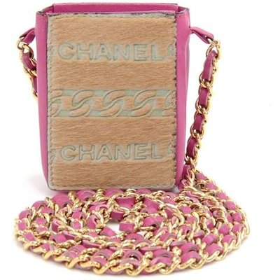 Chanel Pony Hair and Pink leather Mini Crossbody Cigarette Bag, Pink