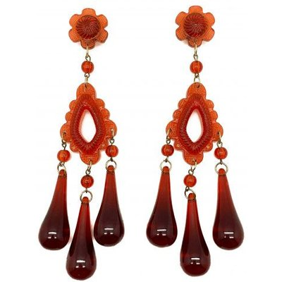 Vintage Italian Shoulder Duster Earrings Spectacular Rust Lucite 1960s