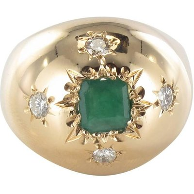 1960s Domed Emerald Diamond Gold Ring, Gold