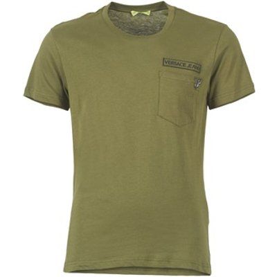 Versace Jeans  PATCH POCKET TIGER  men s T shirt in Green - 8057006043632