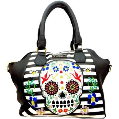 Loungefly  Stripe Skull  women s Handbags in Black - 5053466903380
