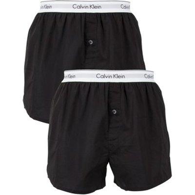 Calvin Klein Jeans  2 Pack Logo Slim Fit Woven Boxers  men s Boxer shorts in Black - 8718935872396