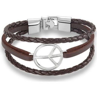 Blue Pearls  Brown Multi Rows Peace and Love Leather and Stainless Steel Man  women's Bracelet in Mu