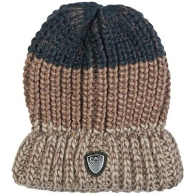 Emporio Armani EA7  EA7 by Emporio Armani Beanie Hat in Navy Blue  Grey and Brown 27  men s Beanie in Brown - 8058345253850