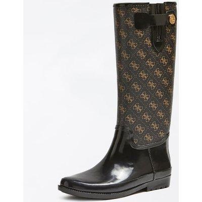 Guess Eberto Logo-Print Rain Boots, Black