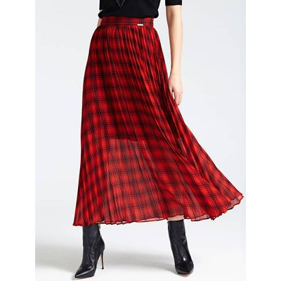 Guess Long Tartan Print Skirt