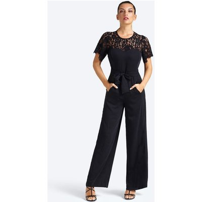 Guess Wide-Fit Split Detail Lace Jumpsuit