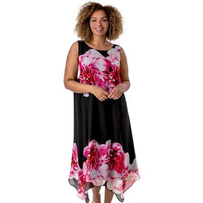 Curve Floral Asymmetric Chiffon Dress