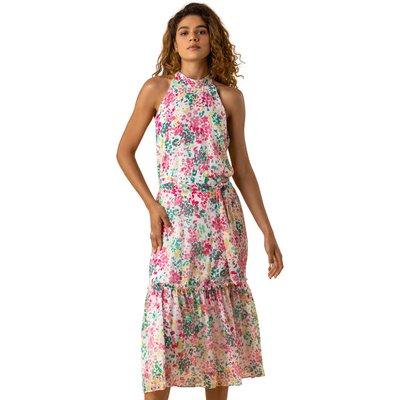 Tie Waist Floral Midi Dress
