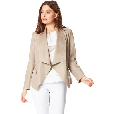 Faux Leather Suedette Waterfall Jacket