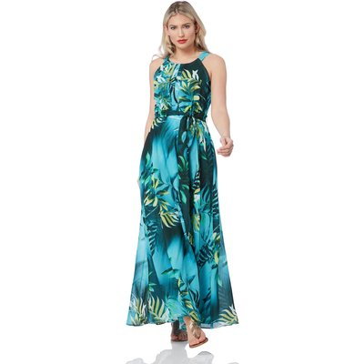 Halter Neck Tropical Print Maxi Dress