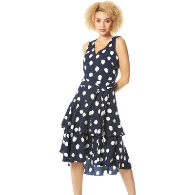 Spot Frill Tiered Belted Dress