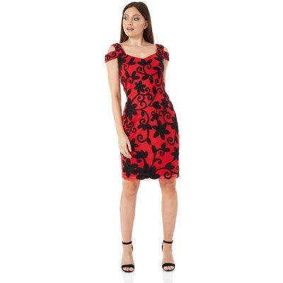 Embroidered Cold Shoulder Floral Dress