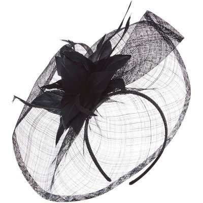 Floral Feather Veil Disc Fascinator