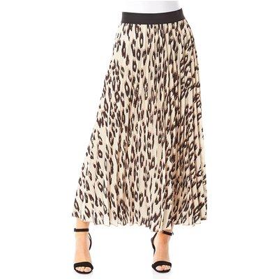 Animal Print Pleated Maxi Skirt