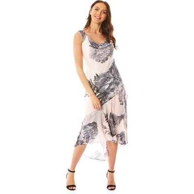 Floral Cowl Neck Chiffon Midi Dress