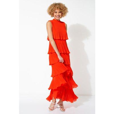 Pleated Layer Frill Maxi Dress