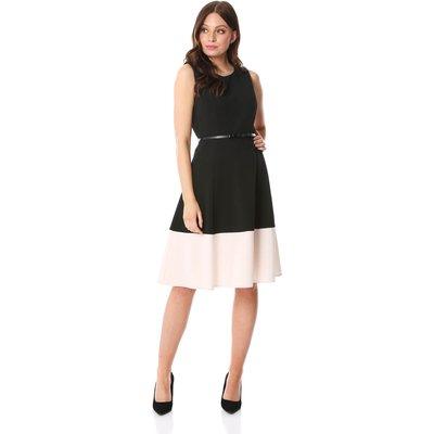 Contrast Hem Fit & Flare Dress