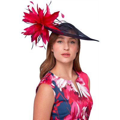 Large Contrast Feather Disc Fascinator