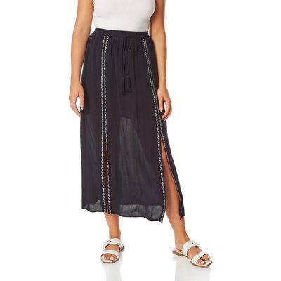 Embroidered Split Midi Skirt