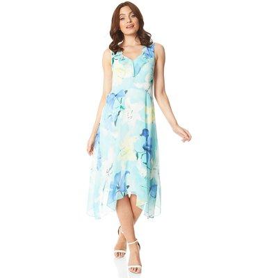 Floral Chiffon Frill Midi Dress