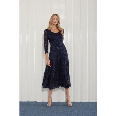 Julianna Sequin Lace Midi Dress