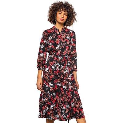 Tiered Floral Midi Shirt Dress