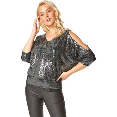 Sparkle Cold Shoulder Blouson Top