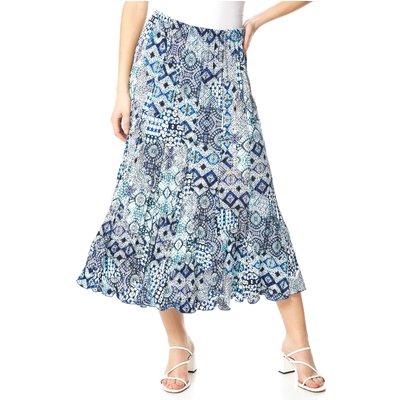 Crinkle Geometric Print Midi Skirt