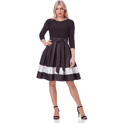 Contrast Fit and Flare Dress with Belt