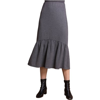 Houndstooth Tiered Midi Skirt