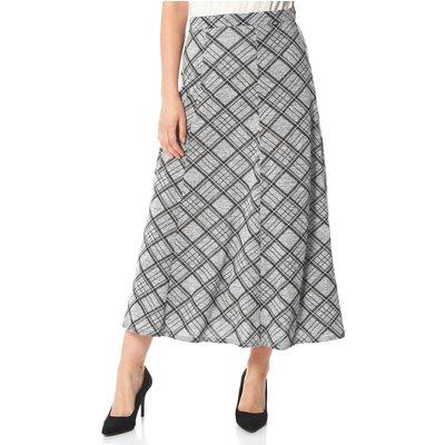 Check Print Flared Midi Skirt