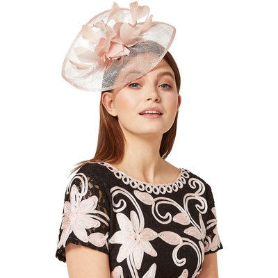 Feather Detail Metallic Veil Fascinator