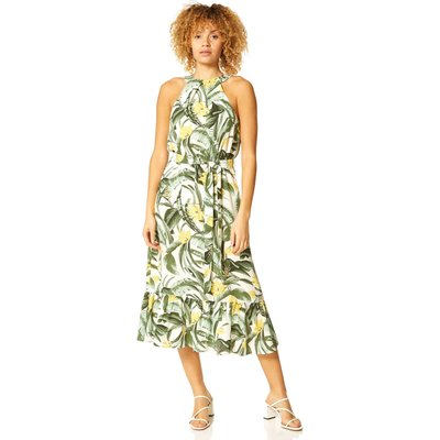 Tropical Print Halter Neck Dress