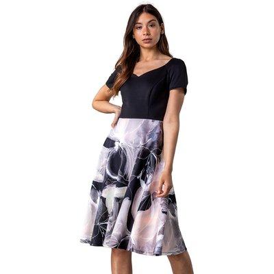 Contrast Floral Print Fit & Flare Dress