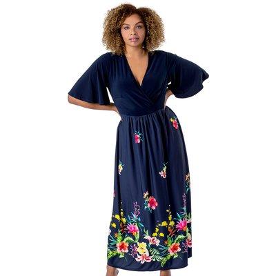 Curve Floral Border Print Maxi Dress