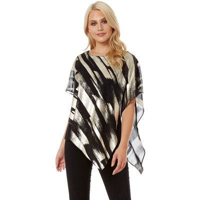 Metallic Foil Stripe Overlay Top
