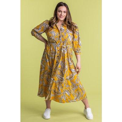 Curve Tropical Print Shirt Dress