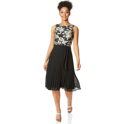 Floral Jacquard Pleated Skirt Midi Dress